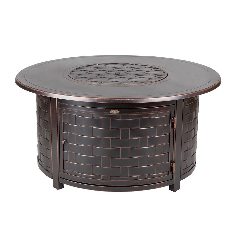 Fire Pit Table Perissa 19 In Woven Cast Aluminum With Bowl Lid Antique Bronze Finish Perfect Addition For Patio Decor