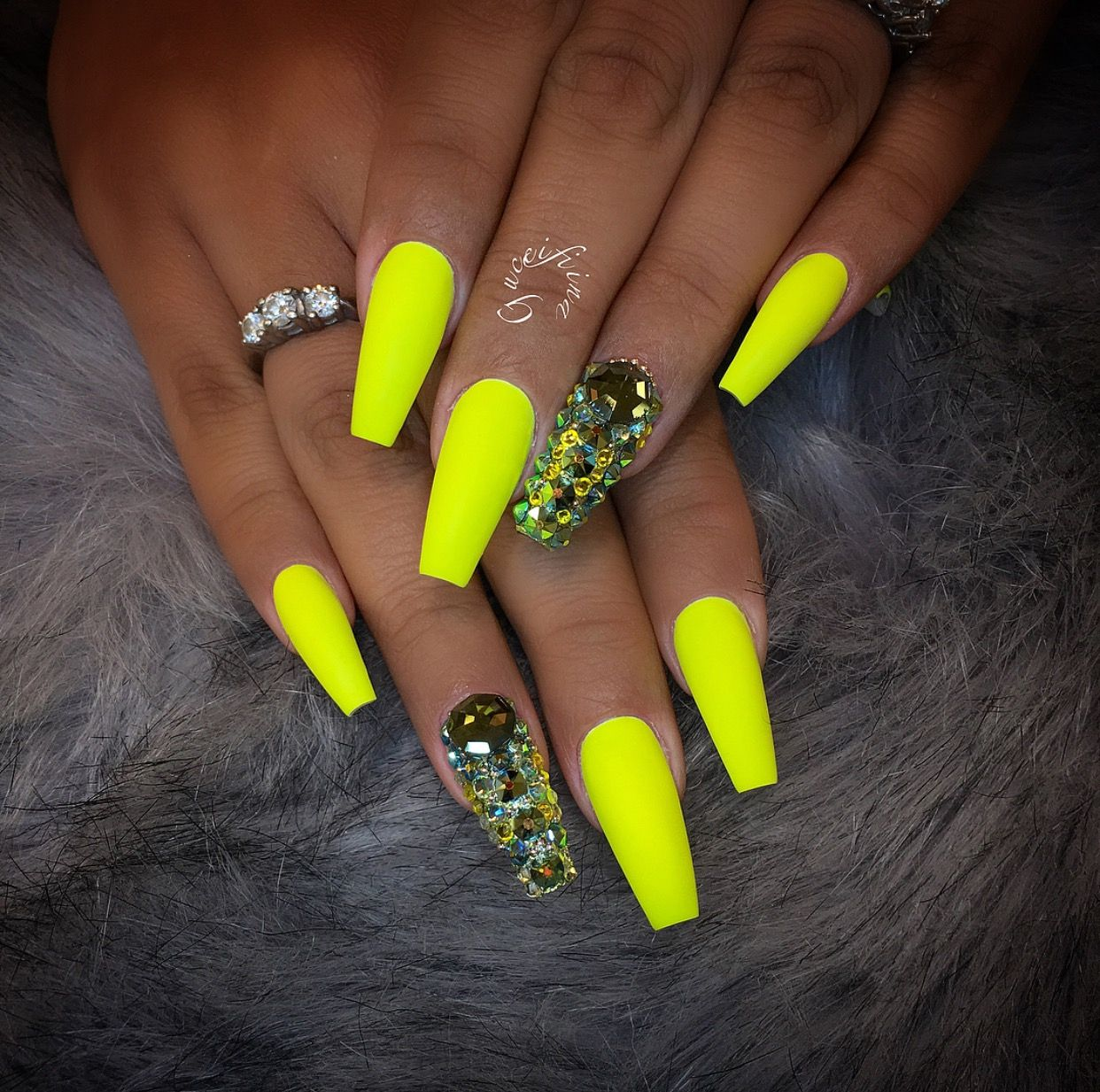 Matte Neon Yellow Green Coffin Shape Acrylic Nails W Rhinestones