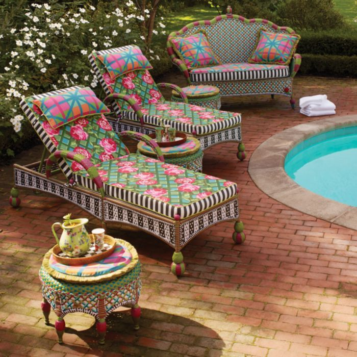 Mackenzie Childs Greenhouse Outdoor Chaise