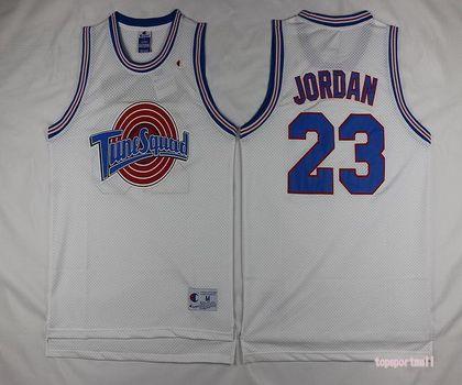 NBA Chicago Bulls 23 Michael Jordan Tune Squad Looney White Basketball Jersey