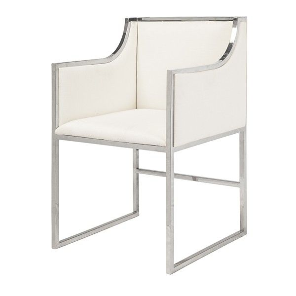 White Linen Dining Occasional Chair With Nickel FrameSeat Height 20Arm