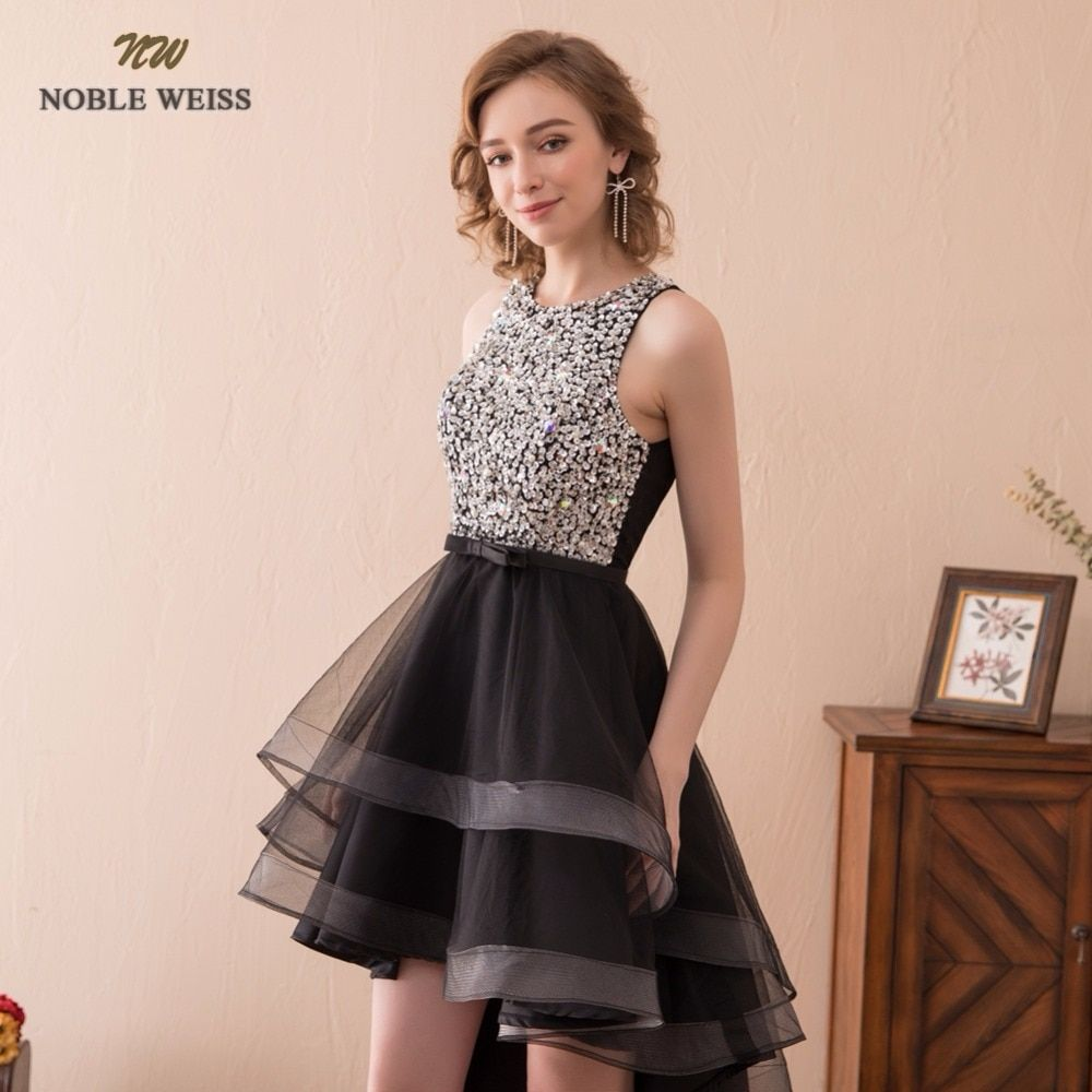 Noble weiss black short prom dress beading short front long back