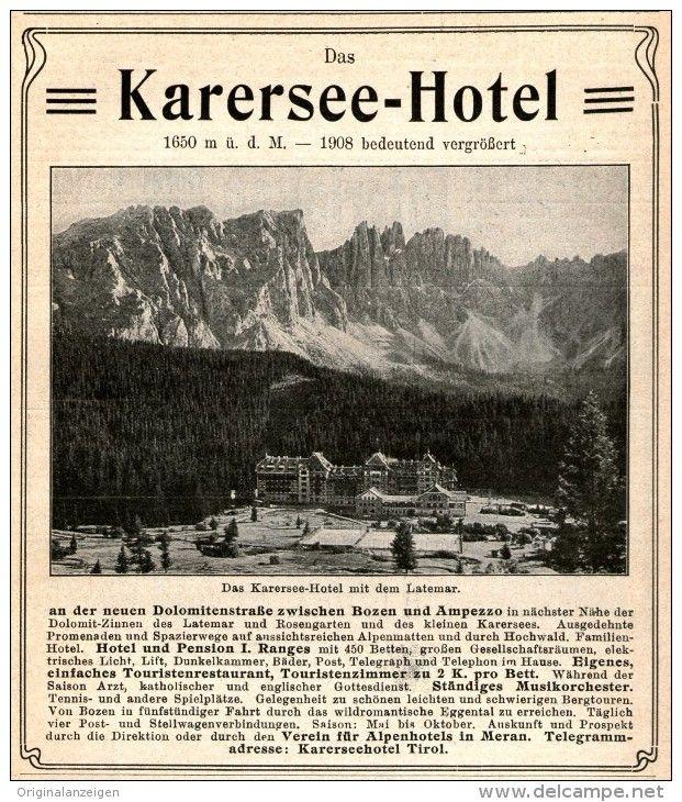 Original-Werbung/Inserat/ Anzeige 1909 - KARERSEE - HOTEL TIROL - ca. 150 x 115 mm