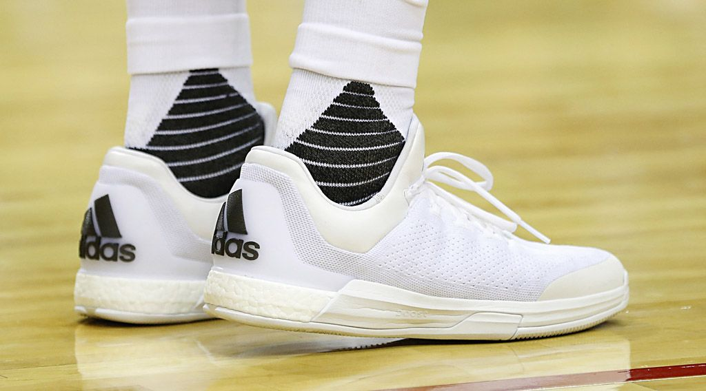 cheap for discount 83d02 c56a9 James Harden Wears All-White adidas Crazylight Boost 2015 (2)