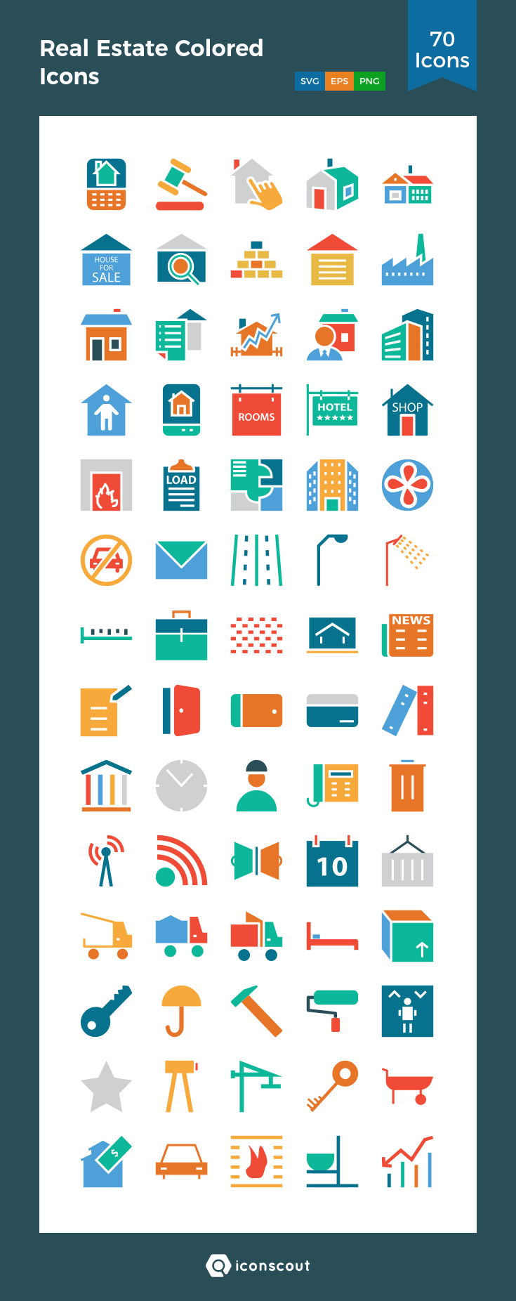 Download Real Estate Colored Icons Icon pack Available