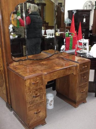 Antique Dressing Table 1930   1930u0027s Burr Walnut Dressing Table And Mirror.