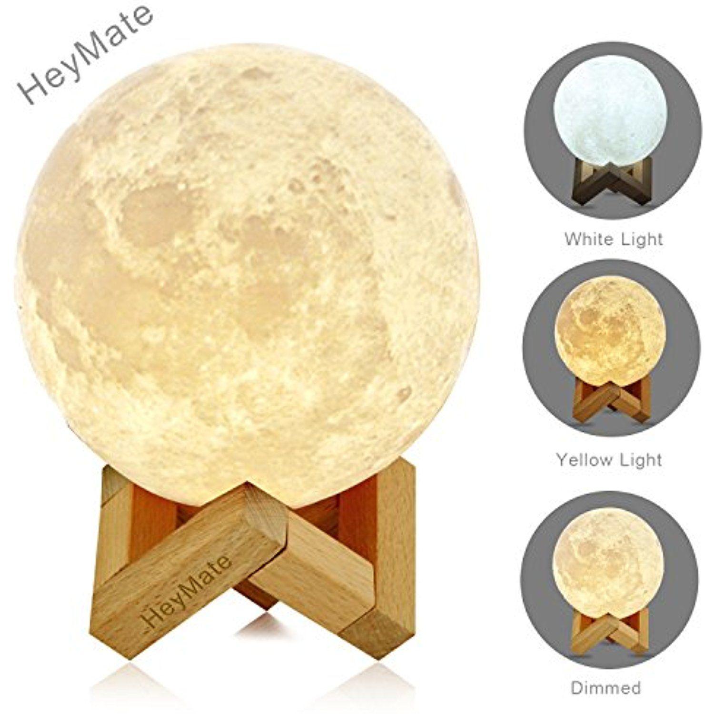 Heymate Touch Sensor Moon Night Light For Kids 5 9 Rechargeable 3d Moon Light With Lamp Holder Adjustable Brightness Lu Night Light Nursery Lamp Lamp Holder