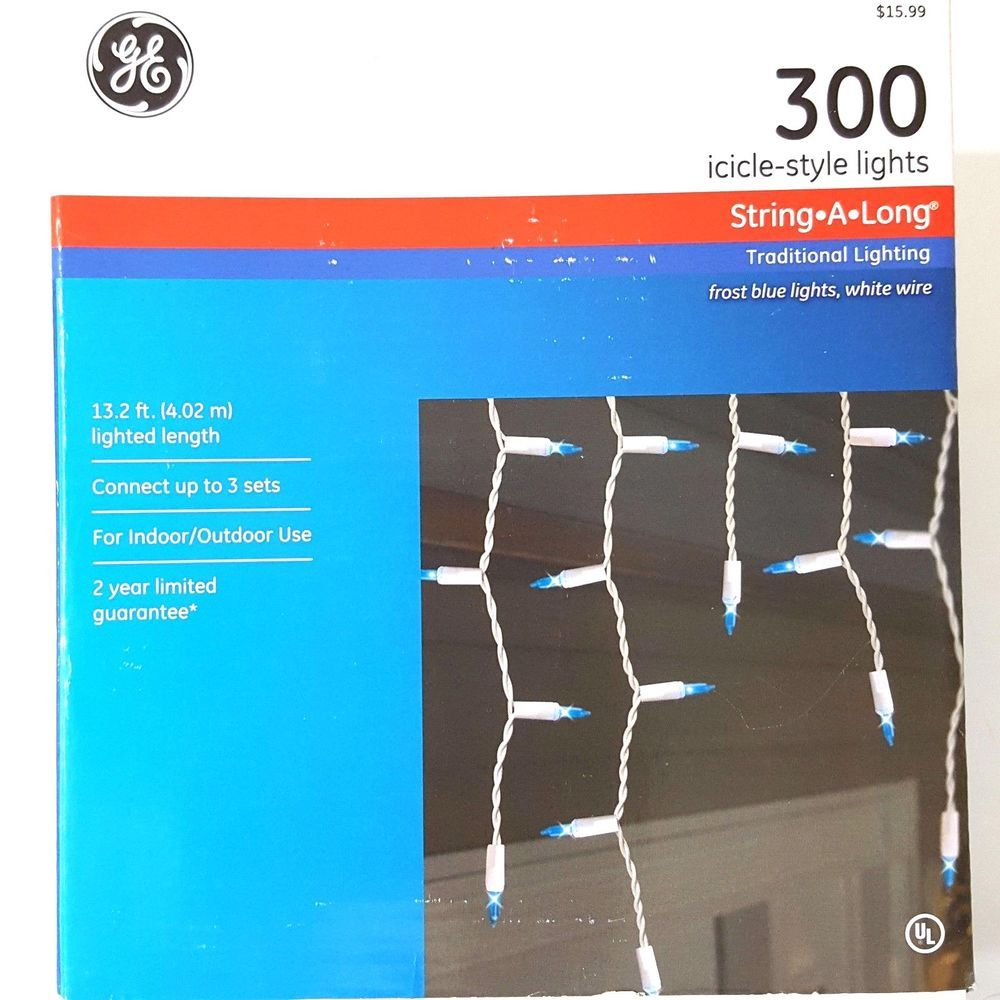 GE 300 Icicle Style Lights String A Long Frost Blue White Wire 13.2 ...