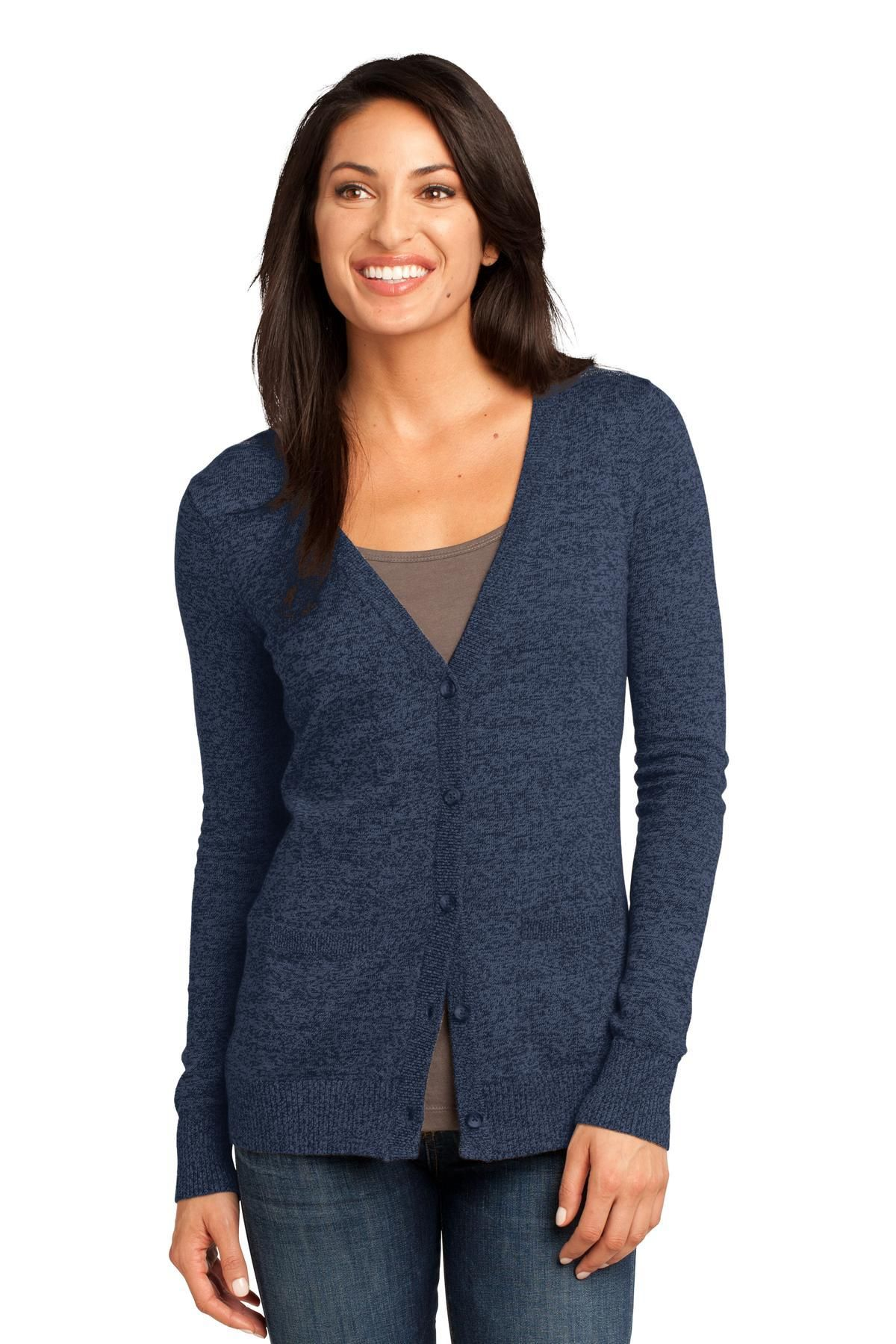 10e0b769085116 District Made - Ladies Cardigan Sweater DM415 Navy