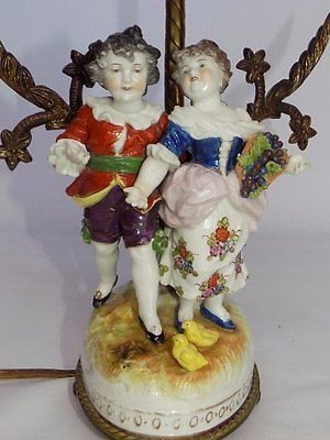 antiques gifts antique dresden germany porcelain 18th century dressed young couple table lamp