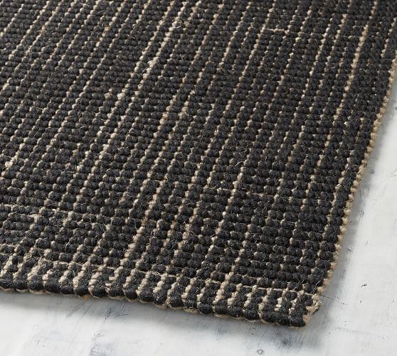 Chunky Natural Wool Jute Rug Ebony Jute Wool Rug Jute Rug Natural Rug