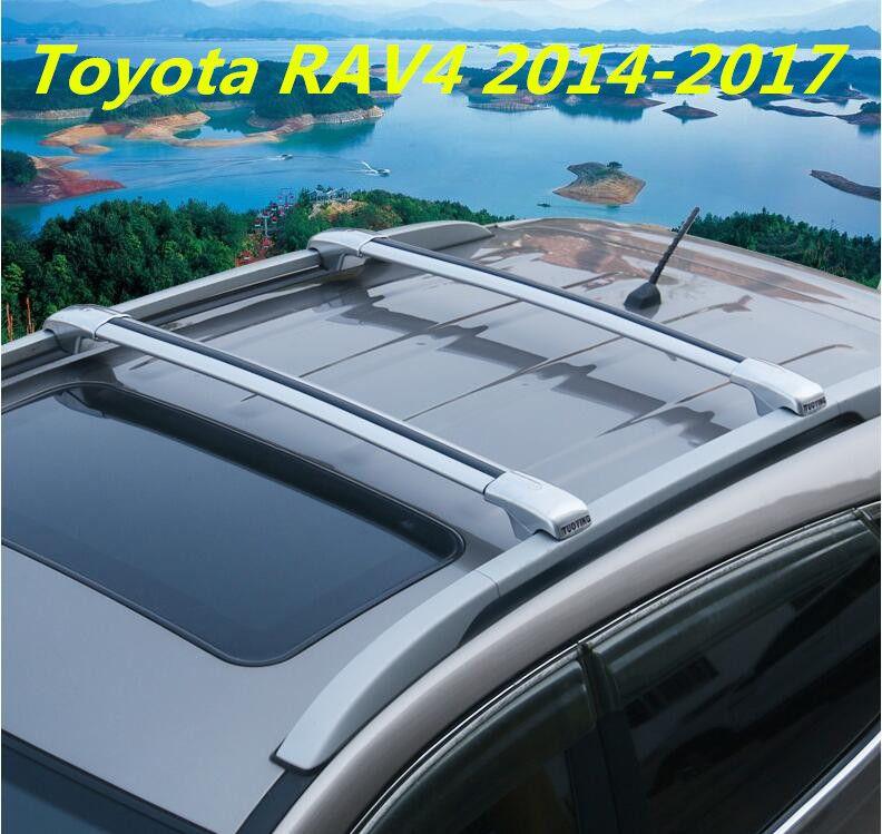Car Aluminum Roof Rack Rail Baggage Luggage Cross Bar For Toyota Rav4 2014 2015 2016 2017 With Lock Silver Black Car Roof Racks Aluminum Roof Car