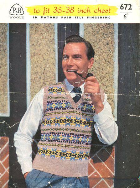 vintage mens fair isle knitting pattern   knitting   Pinterest ...