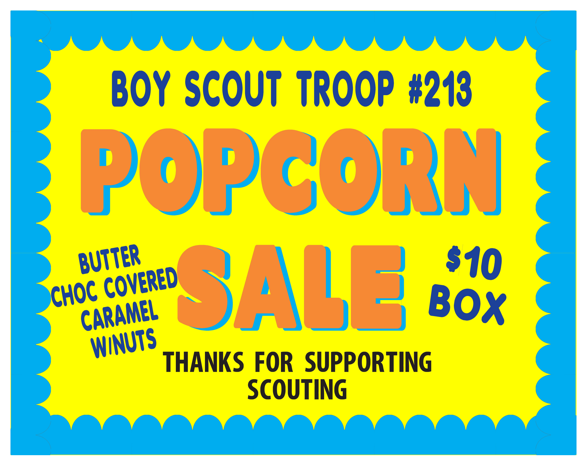 boy scouts popcorn sale | fundraising poster project ideas