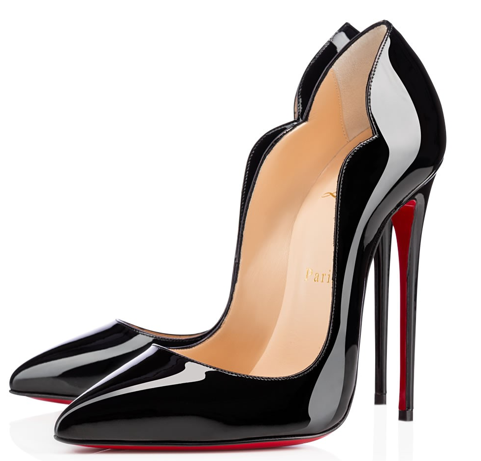 Preowned Christian Louboutin Rare Hot Chick 130 Scallop Patent 37 Black Pumps