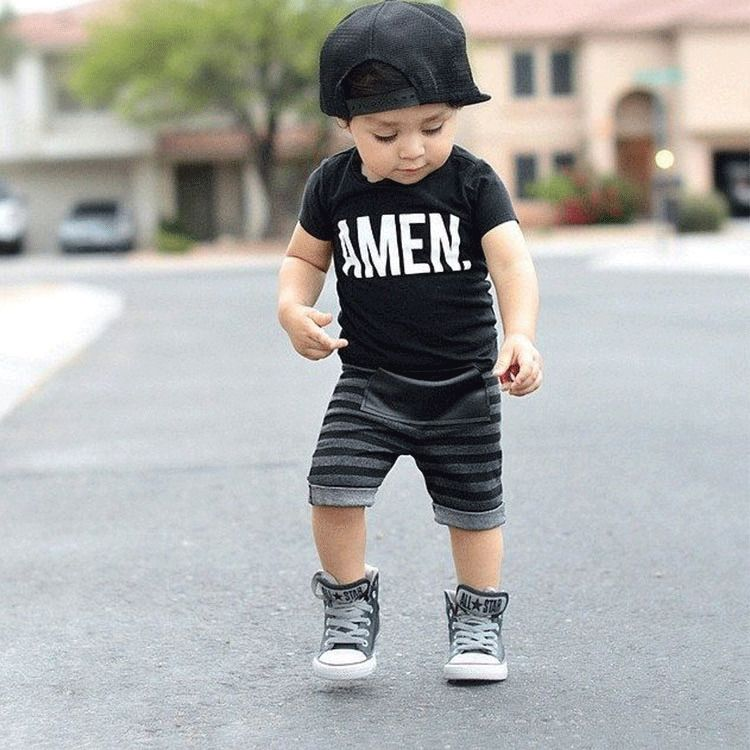 2pcs Toddler Infant Kids Baby Boys T-shirt Tops+Pants Summer Outfits Clothes Set