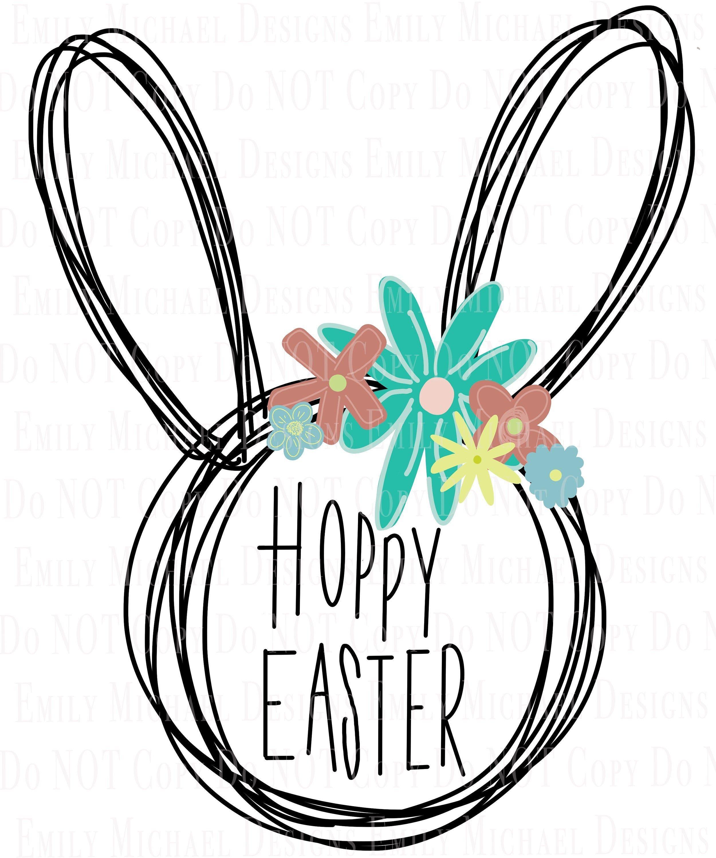 Hoppy Easter Bunny Floral Digital Download Png Easter Sublimation Png Happy Easter Bunny Image Hand Drawn Easter Png Easter Bunny Images Happy Easter Bunny Hoppy Easter