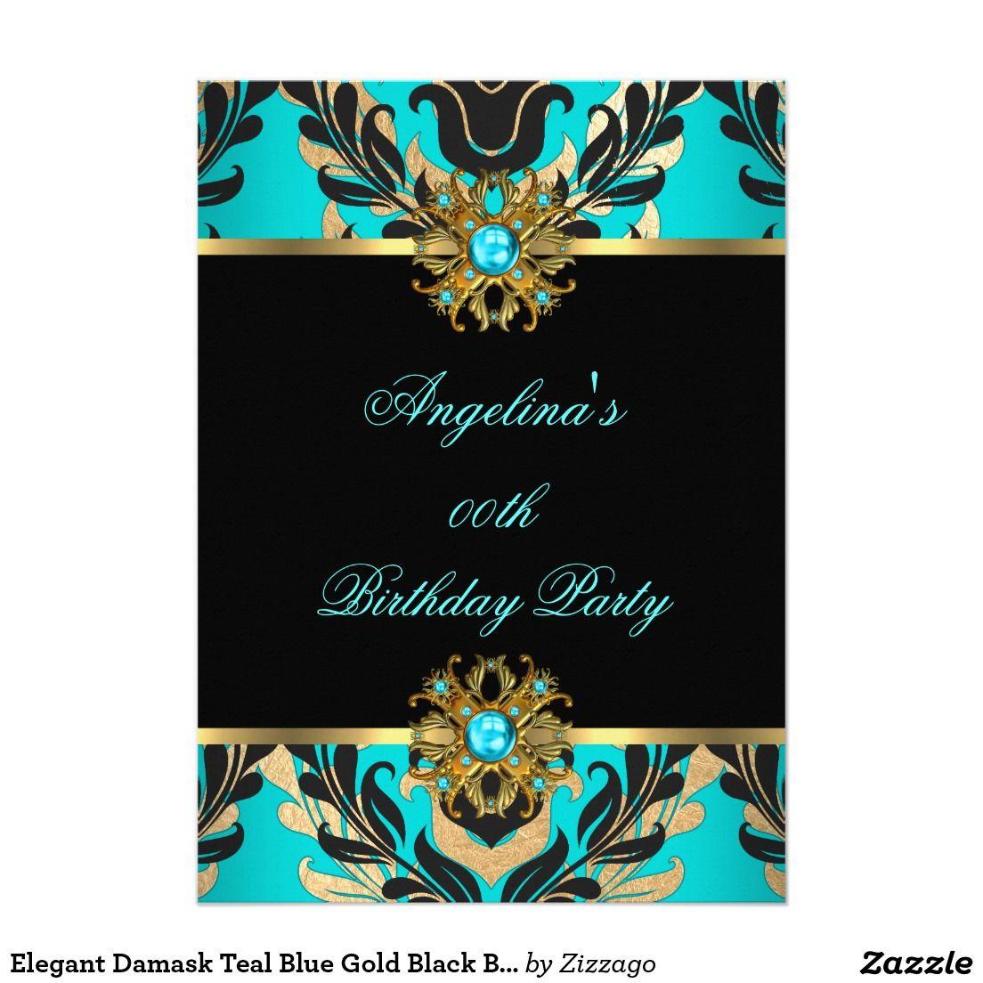 Elegant Damask Teal Blue Gold Black Birthday Party Invitation | Zazzle.com  in 2020 | Floral birthday party, Blue gold, Birthday party invitations