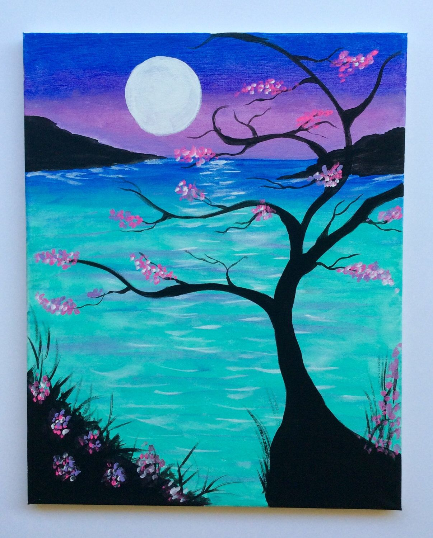 Etsy Art Acrylic Paintingmoon Ocean Paintingwall Artfull Moon Arthome
