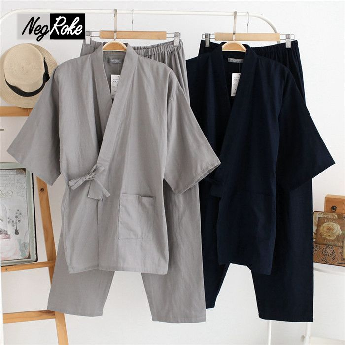 Men/'s Japanese Yukata Linen Kimono Shorts Pajamas Suits Nightwear Night Gown Set