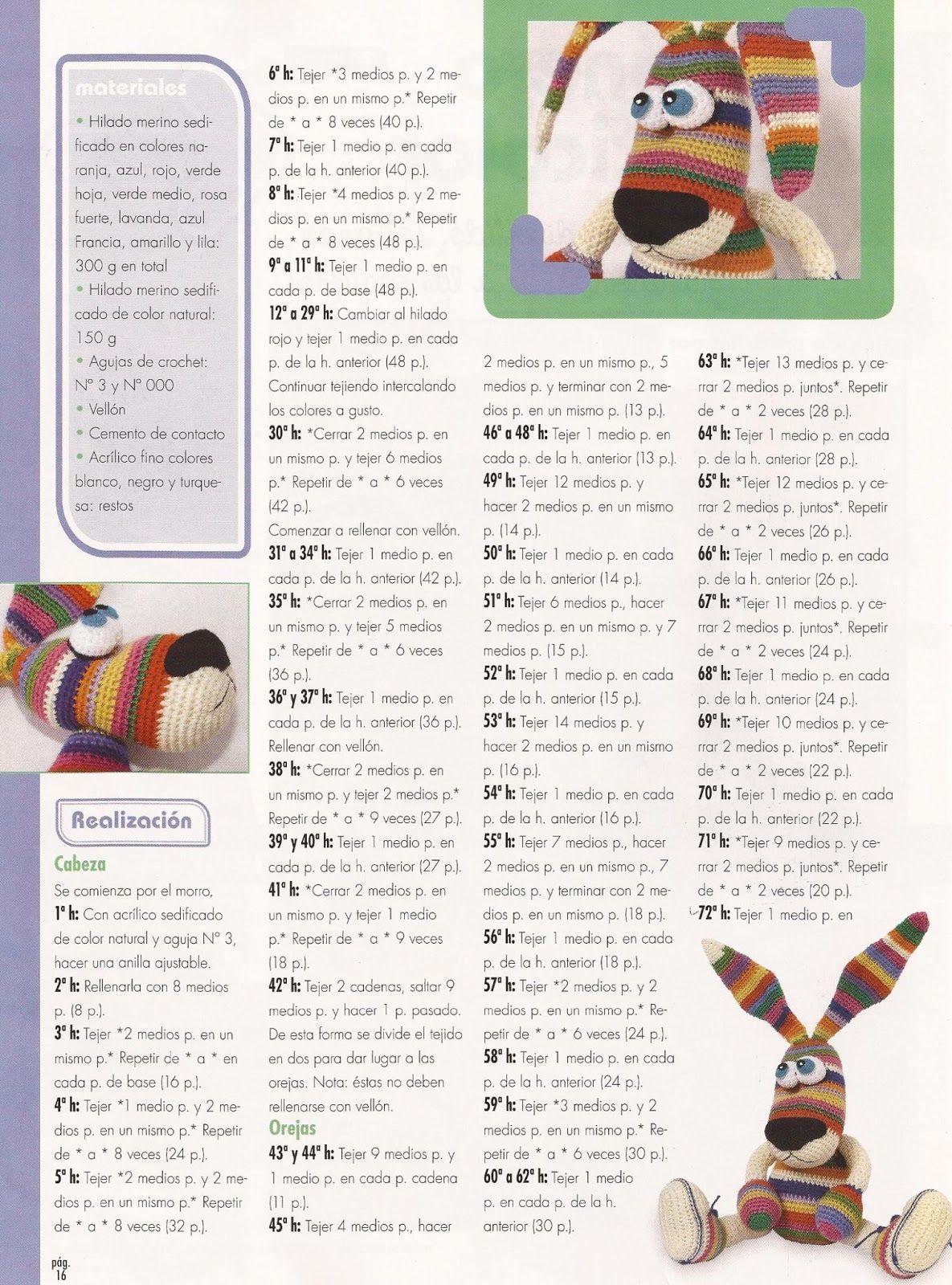 Fany Crochet: conejo colorines | perro colores en 2018 | Pinterest ...