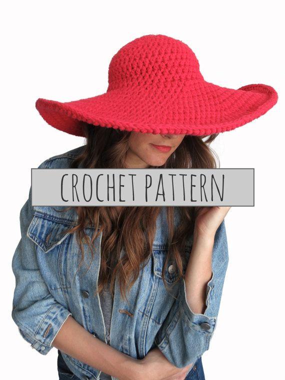 PATTERN for Crochet Floppy Hat Sun Wide Brim Derby Summer Beach Hat ... ce150c4409c