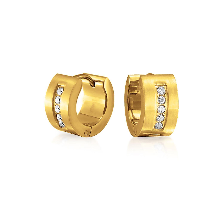 Cz Huggie Hoop Kpop Earrings Black Rose Gold Plated Stainless