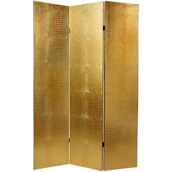 6 ft Faux Leather Gold Crocodile Room Divider ($133) ❤ liked on