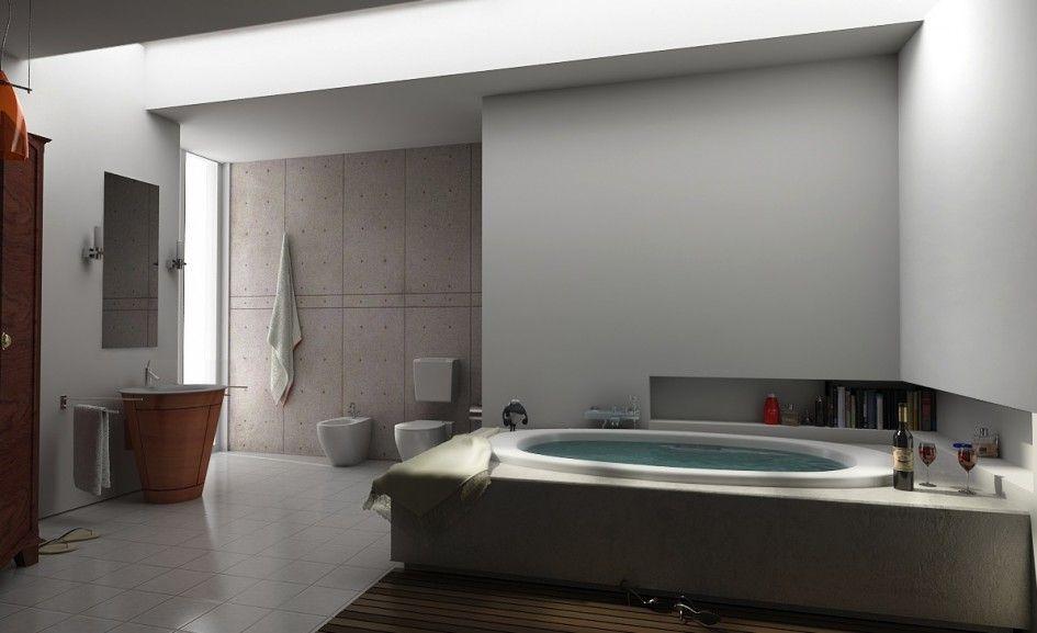 Bathroom enchanting modern bathroom interior design with round bathtub marble floor wall cabinet