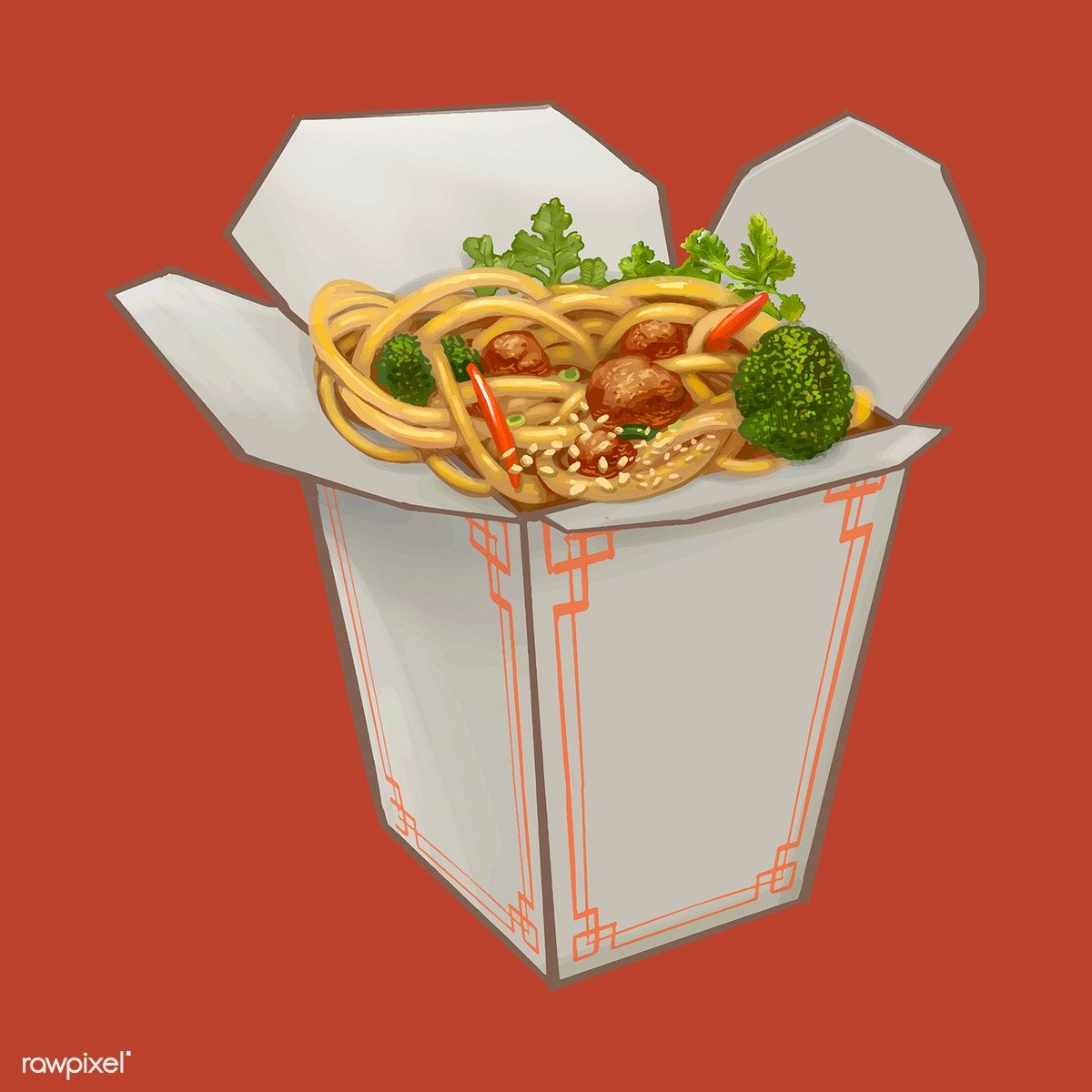 Download Premium Illustration Of Chow Mein In Takeawy Box Illustration