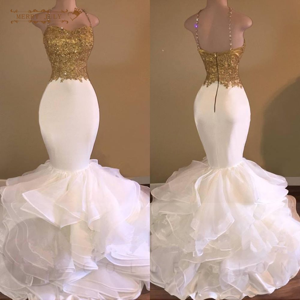 Mermaid gold and white prom dresses long applique ruffles