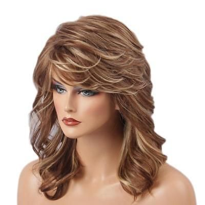 natural women medium long curly layered blonde mixed wigs