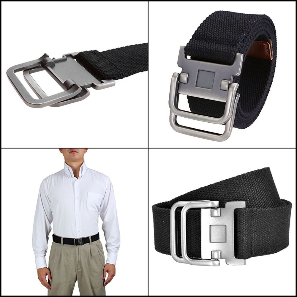 Fashion Double D Ring Buckle Thicken Canvas Belt Casual Waistband