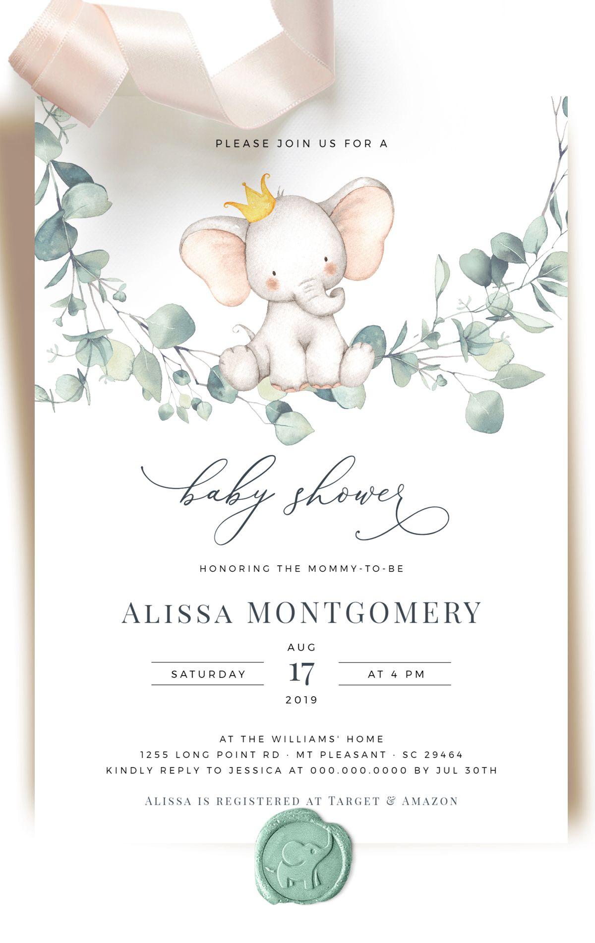 Eucalyptus Baby Shower Invitation Gender Neutral Baby Shower Invitations Baby Shower Invites Neutral Baby Shower Invitation Templates