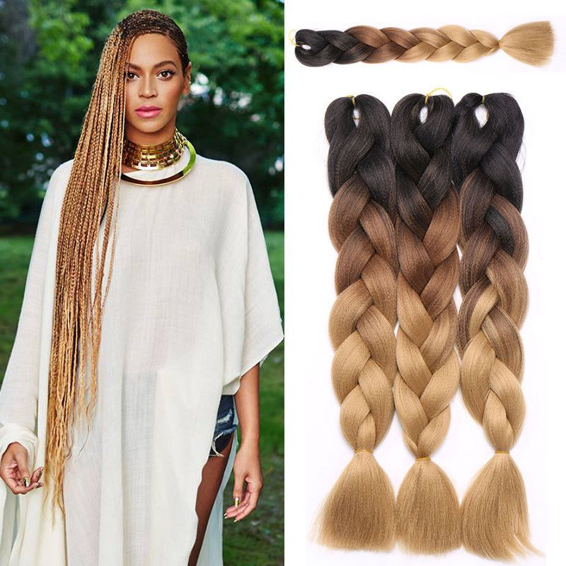 24 Ombre Twist Synthetic Braiding Hair Extensions Braids Hair Material Synthetic Braiding Hair Braid In Hair Extensions Box Braids Styling Blonde Box Braids