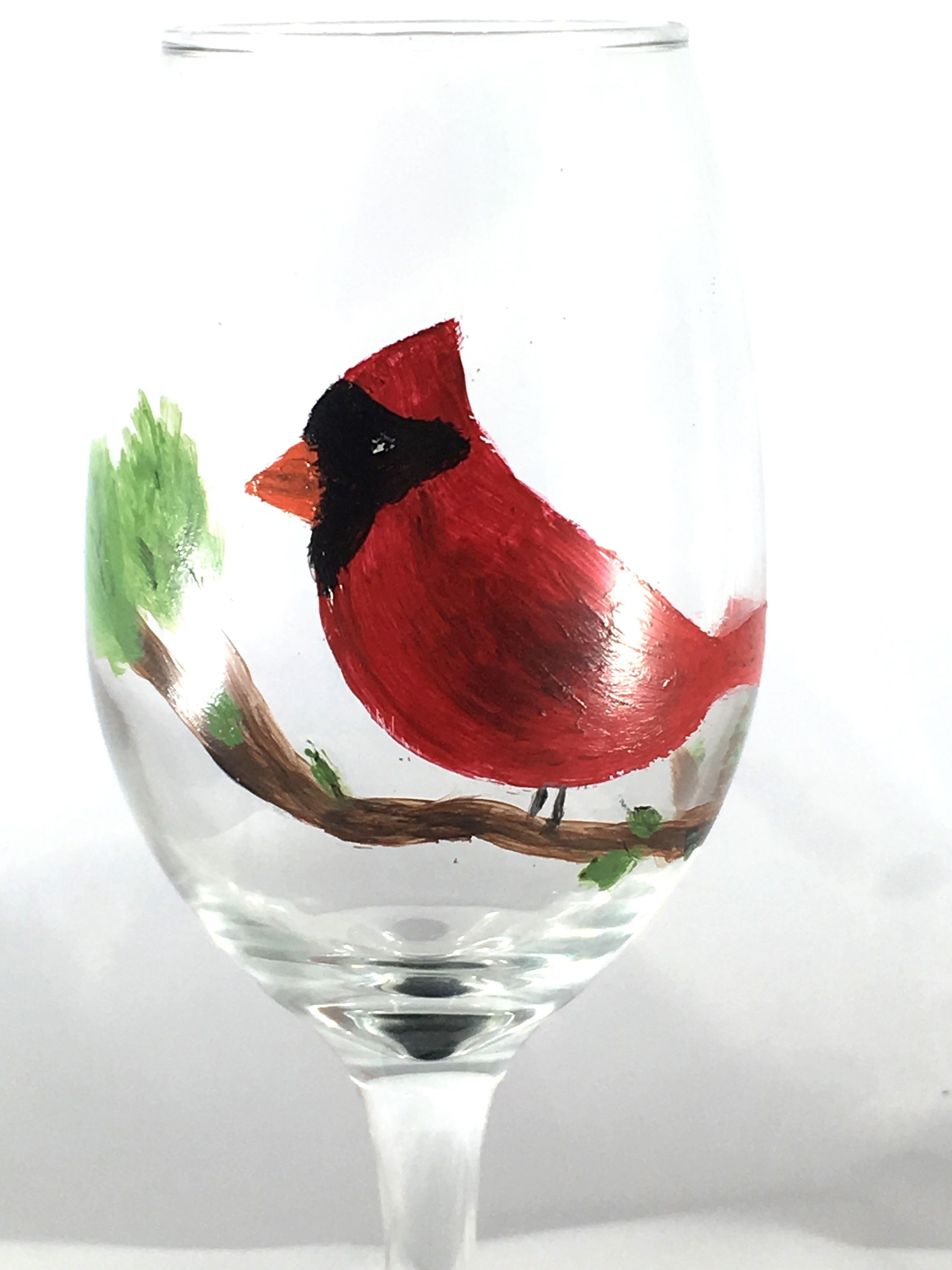 Hand Painted Cardinal Wine Glass State Bird Of 7 States Hand Painted Wine Glasses Hand Painted Hand Painted Glasses