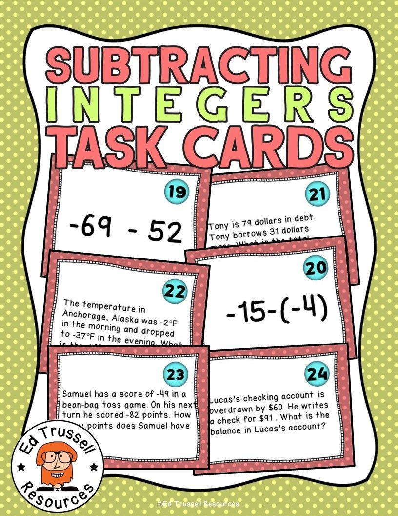 Subtracting Integers Task Cards No Prep Integer Task Cards Middle School Math Resources Task Cards Adding and subtracting integers escape