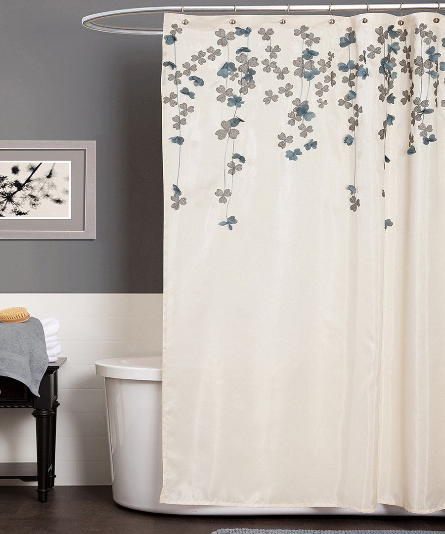 Look at this Ivory & Blue Flower Drops Shower Curtain on #zulily today!