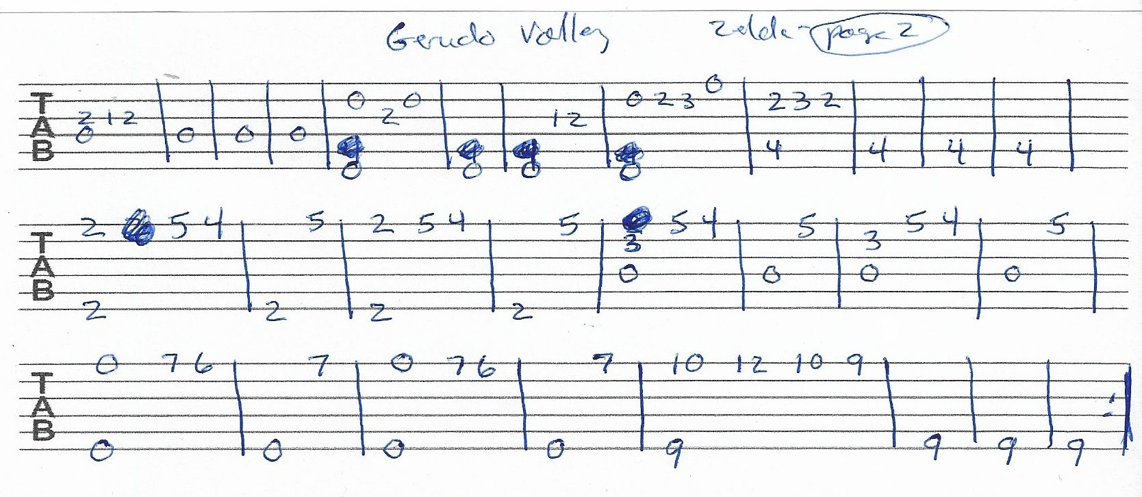 Gerudo Valley Zelda Guitar Tab Page 2 Of 2 With Images