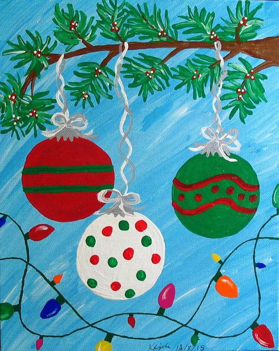 8x10 Inch Acrylic Christmas Painting On Canvas Board Kids