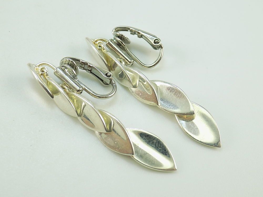 Estate Dp Sterling Silver 925 Leaves Dangle Clip On Earrings 1 3 4 L X W