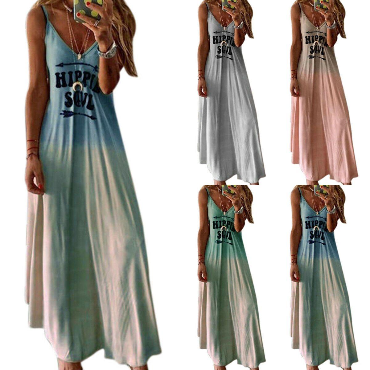 Damen Sommerkleid Tief V-Ausschnitt Partykleid Clubwear Split Boho Maxikleid