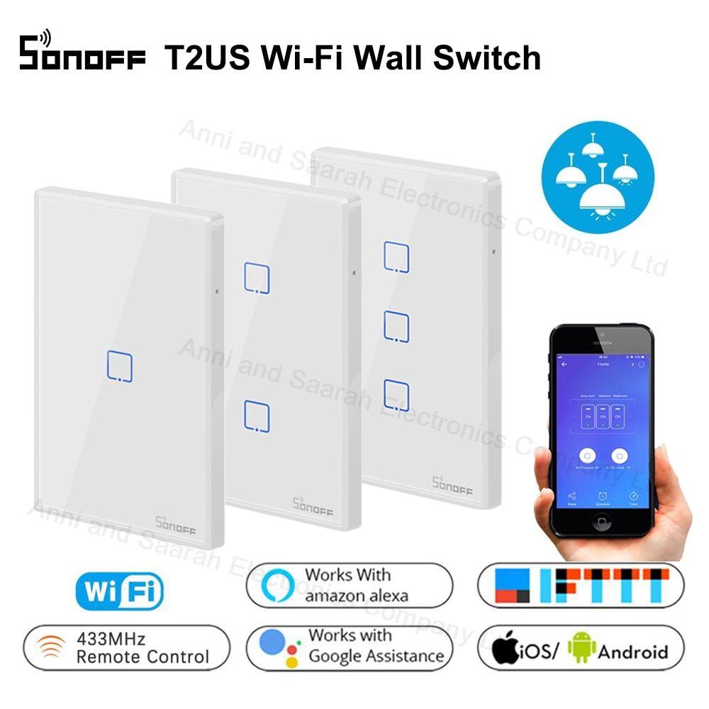 Free Ship Sonoff T2 Wifi Smart Wall Touch Light Switch Us 1 2 3 Gang Rf Wireless Remote Light Smart Home Controller Touch Light Switch Wifi Smart Electronics