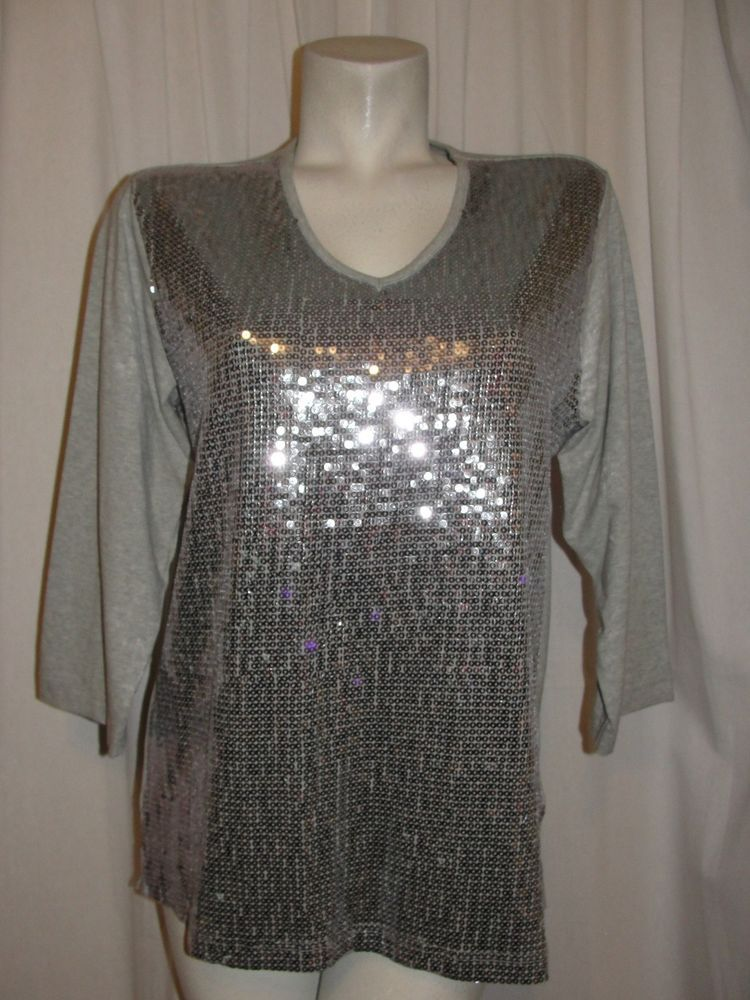 QUACKER FACTORY QVC Gray Silver Sequin Front V-Neck 3/4 Sleeve Top
