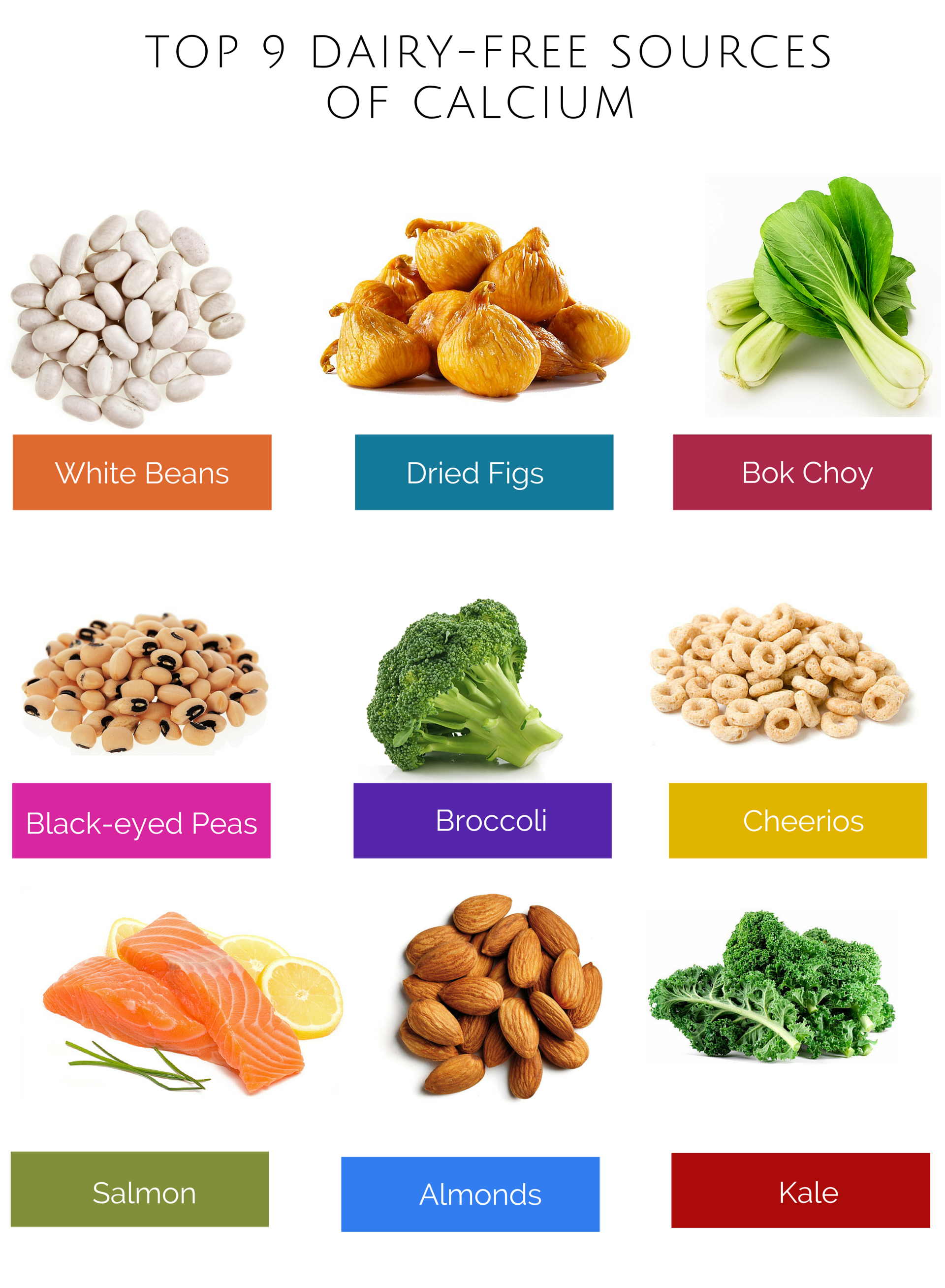 Top 9 dairy free sources of calcium. Visit http//www