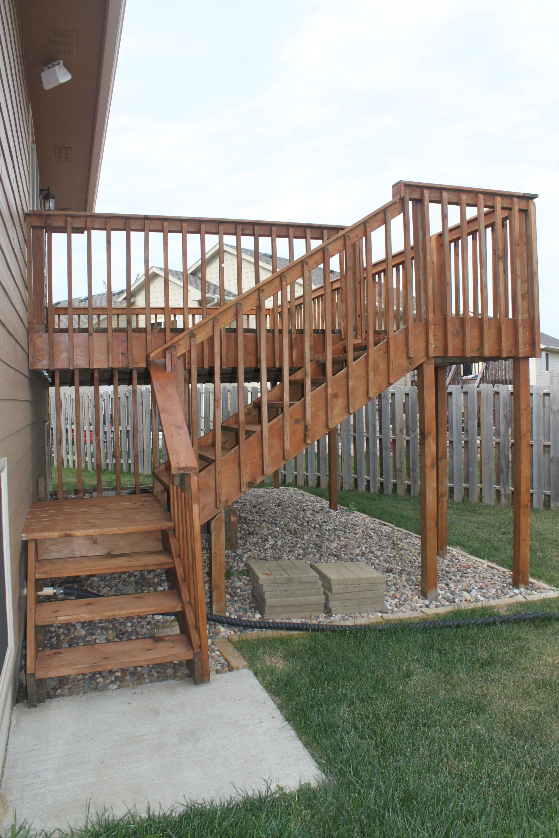 cousins deck backyard kitchen upstairs second floor - Google Search   Decks backyard. Deck stairs. Deck stair railing