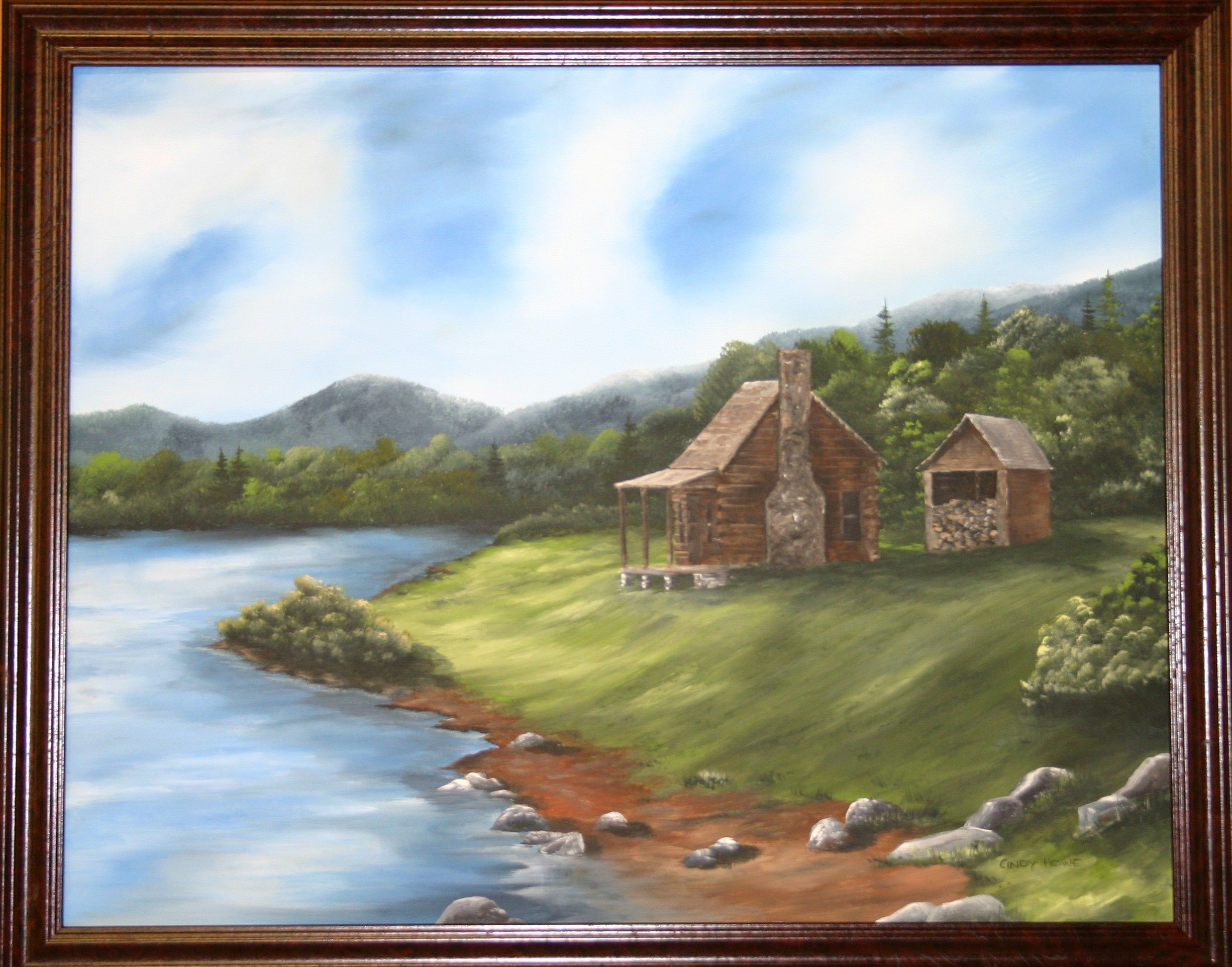 Paintings Of Mountain Cabins Acrylic Paintings Blue