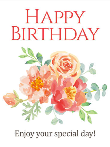 Pained Design Flower Happy Birthday Card Holiday Wishes