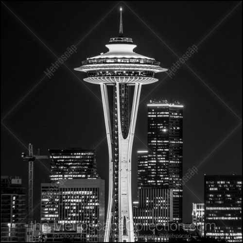 Black and White Picture of The Seattle Space Needle at Night in ...