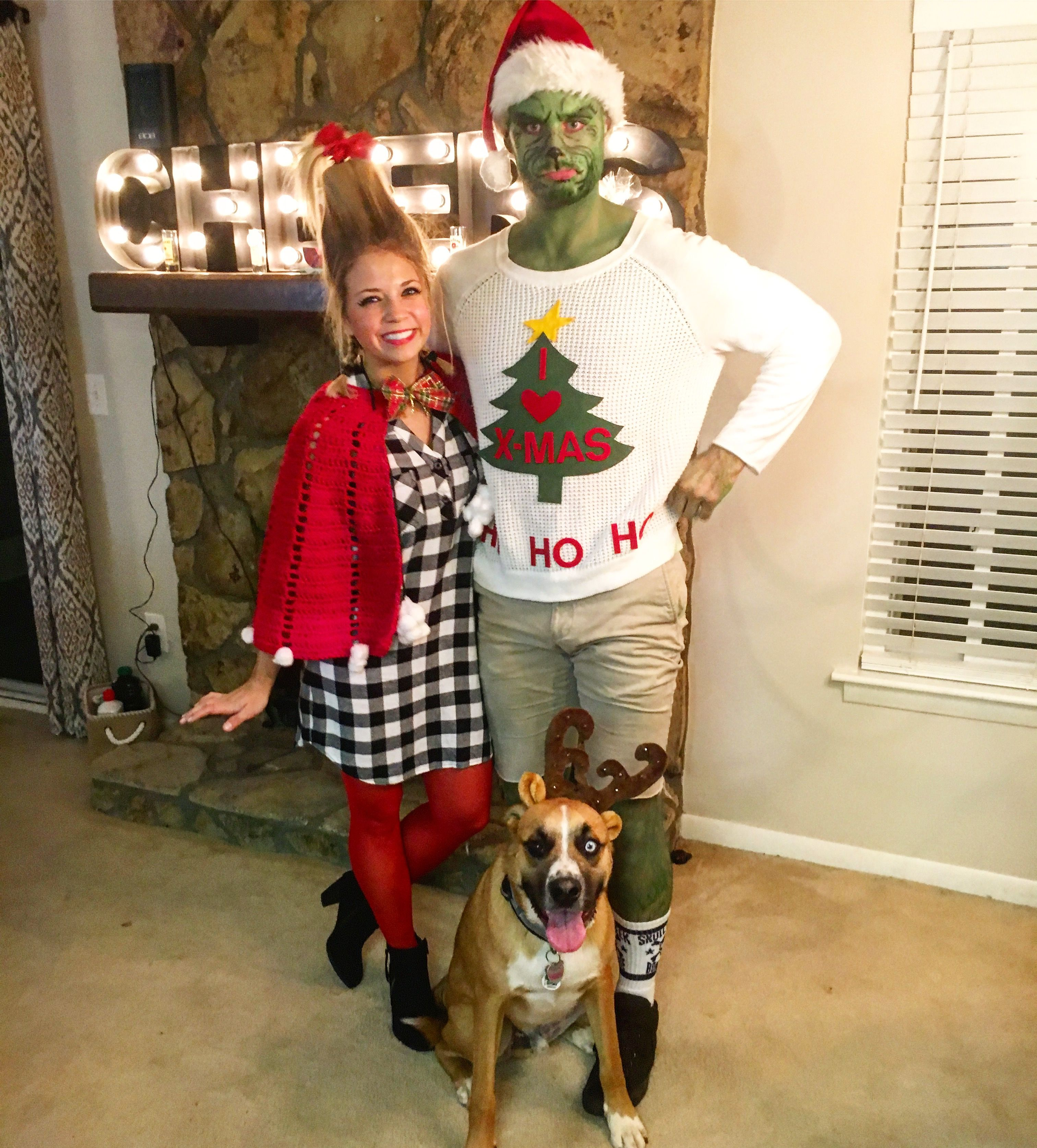The Grinch Costume And Cindy Lou Who Costume Diy Grinch Cindylouwho Max Christmas Character Costumes Grinch Halloween Grinch Costumes